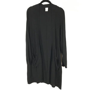 Open front cardigan with pockets duster length